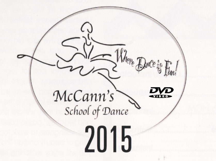 McCann's School Of Dance-2015 DVD